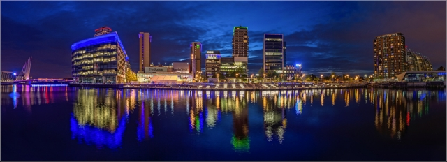 Panoramic of Media City, Salford Quays, by Angela Carr