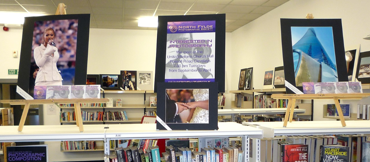 Club member's photos are exhibited in a local library