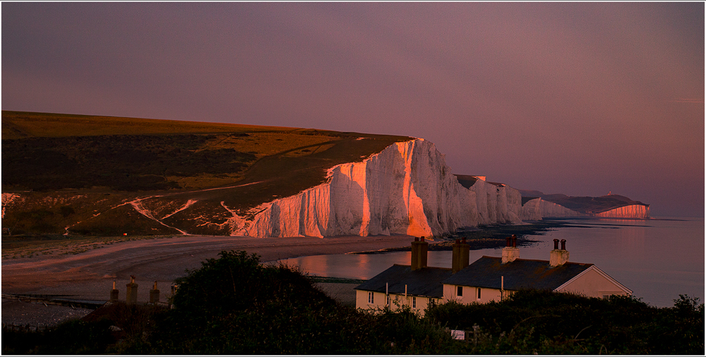 Sunset over the Seven Sisters, by Harry Kuxhaus